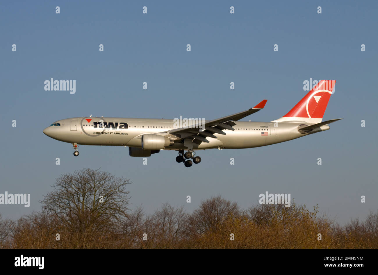 NWA Northwest Airlines Airbus A330-223 landing at London Heathrow - Stock Image