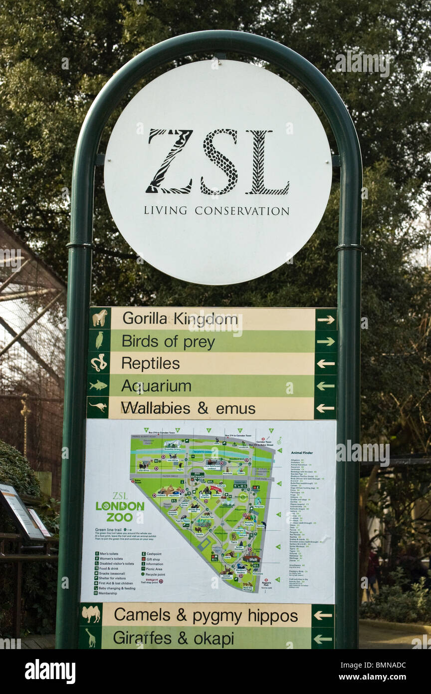sign with map and directionslondon zoo