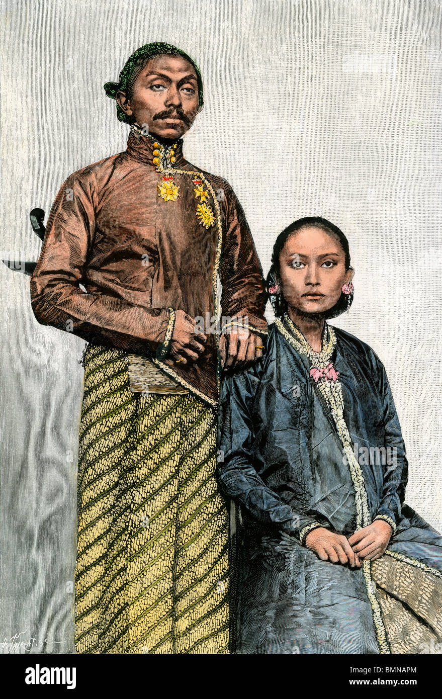 Emperor and empress of Surakarta in Java, Indonesia, circa 1890. Hand-colored woodcut - Stock Image