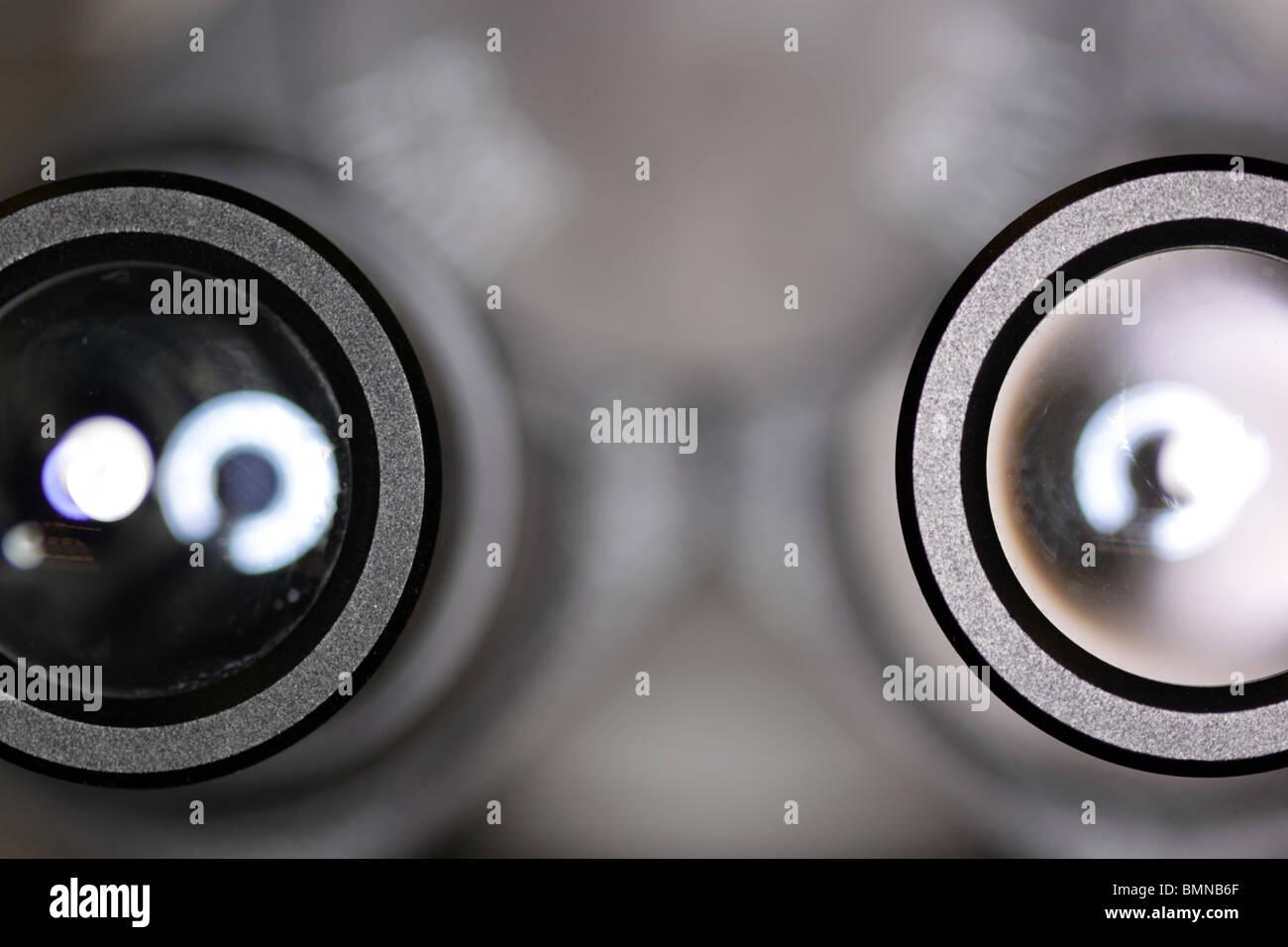 binocular microscope close up of eye piece - Stock Image