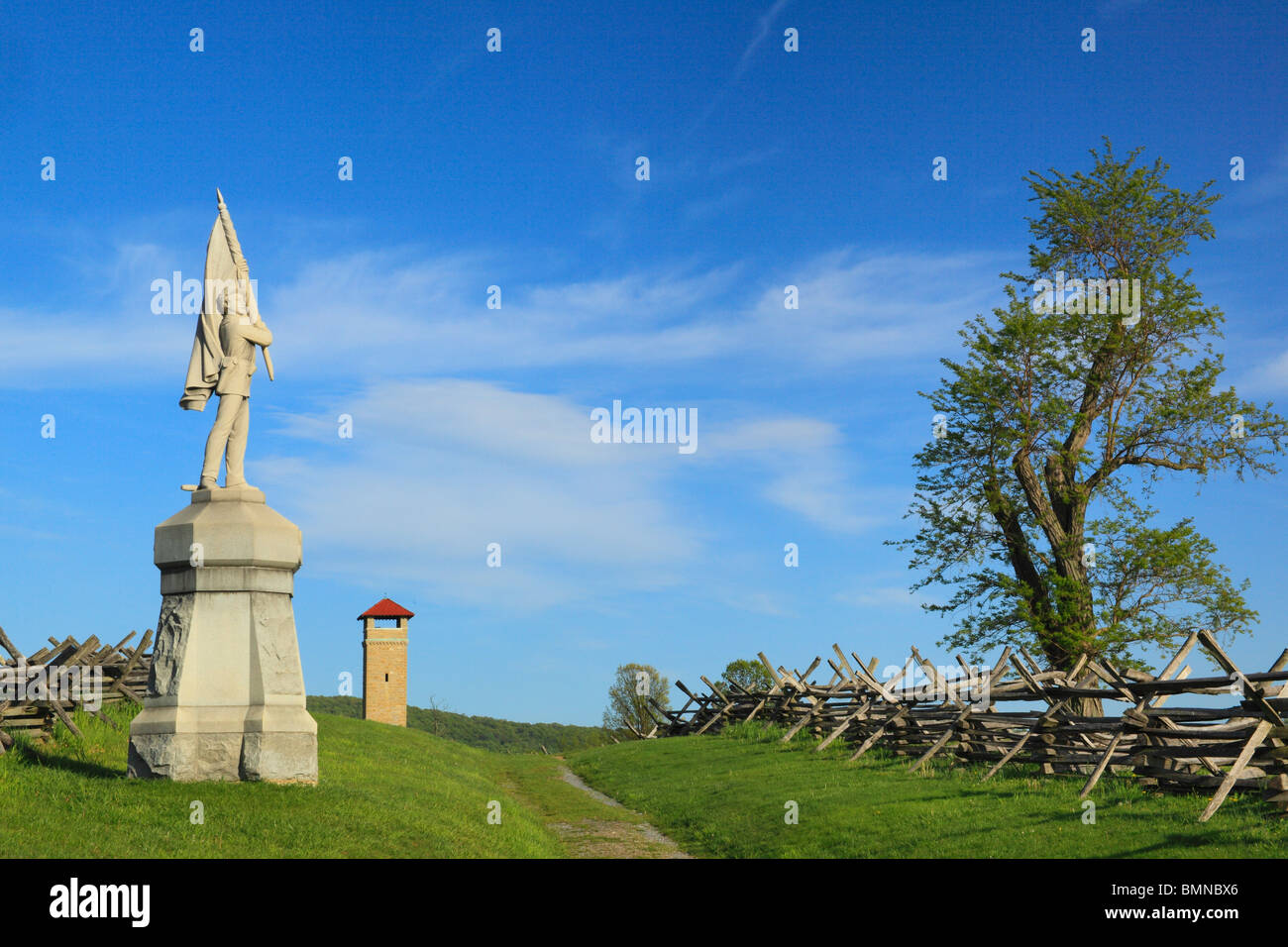 132nd Pennsylvania Monument and Observation Tower, Antietam National Battlefield, Sharpsburg, Maryland, USA - Stock Image