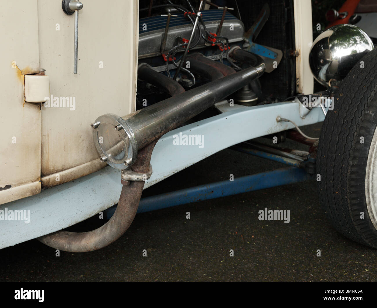 Car Engine Exhaust Bypass Pipe Fitted To A 1933 Ford Hot Rod Stock Photo Alamy