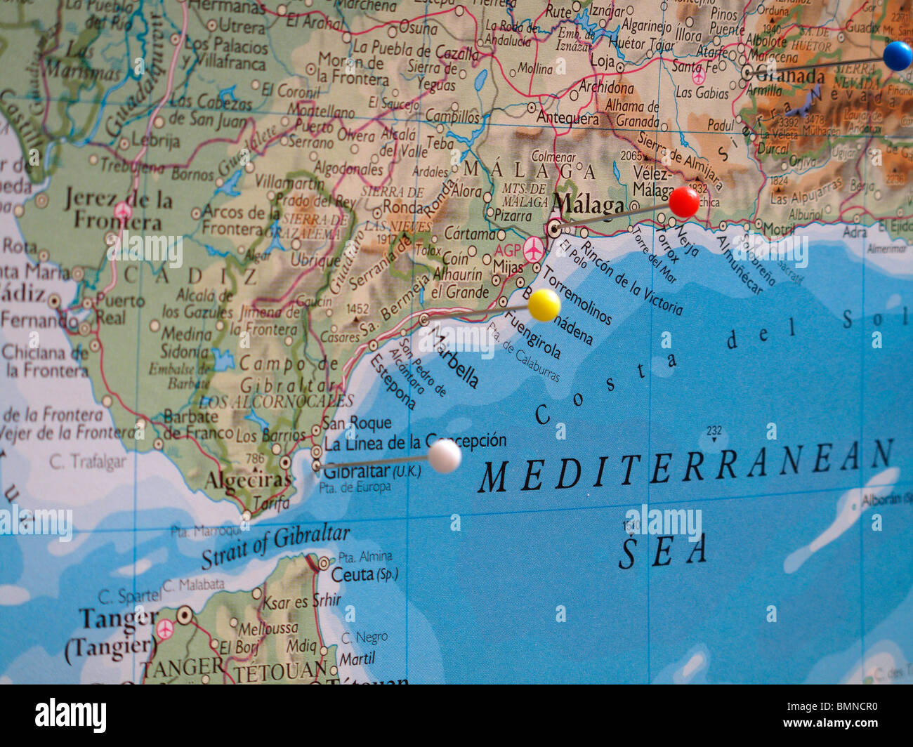 Detailed Map Of Southern Spain.Map Pins In Southern Spain Stock Photo 29974532 Alamy