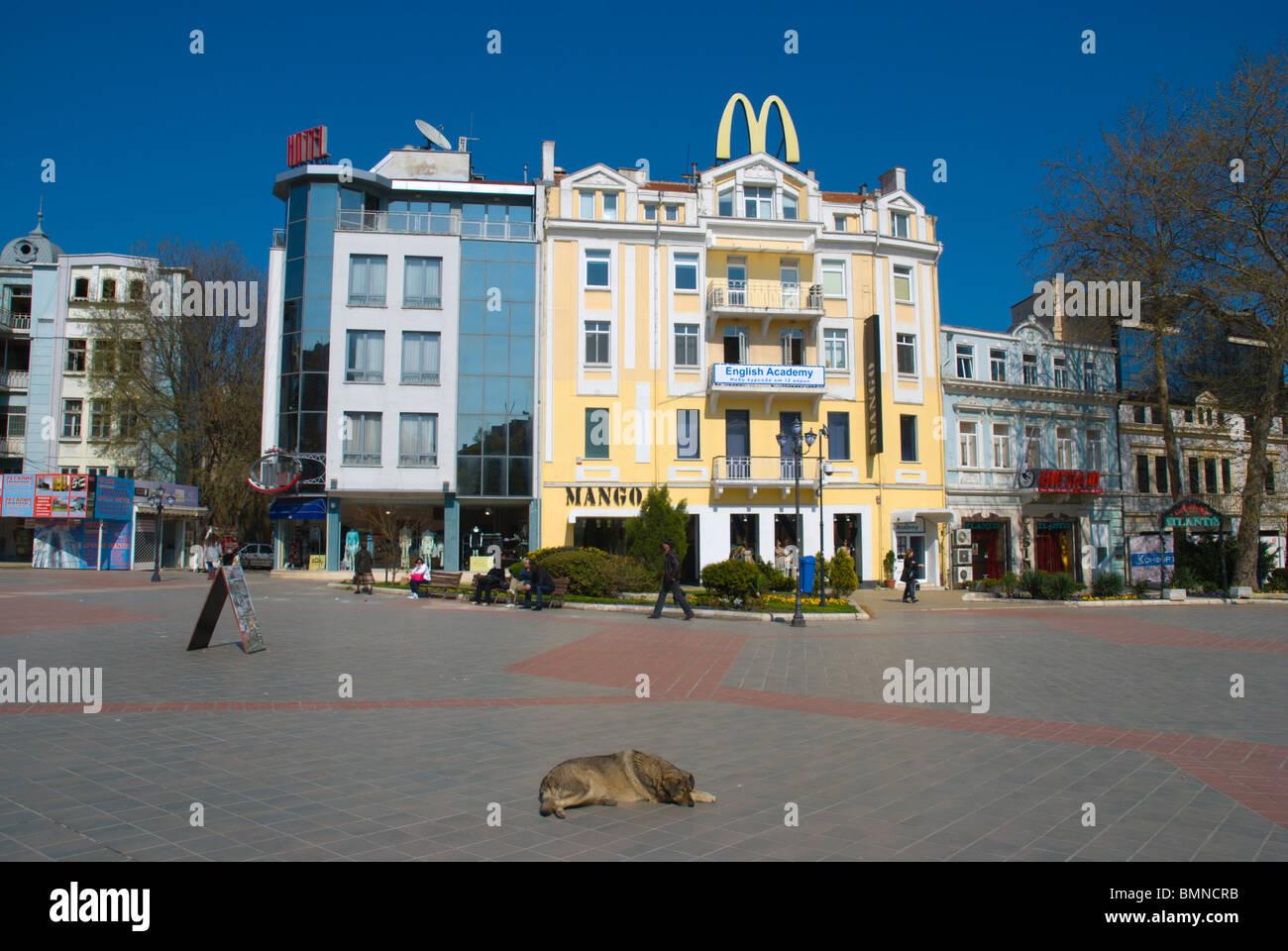 Pl Nezavisimost square central Varna Black Sea coast Bulgaria Europe - Stock Image