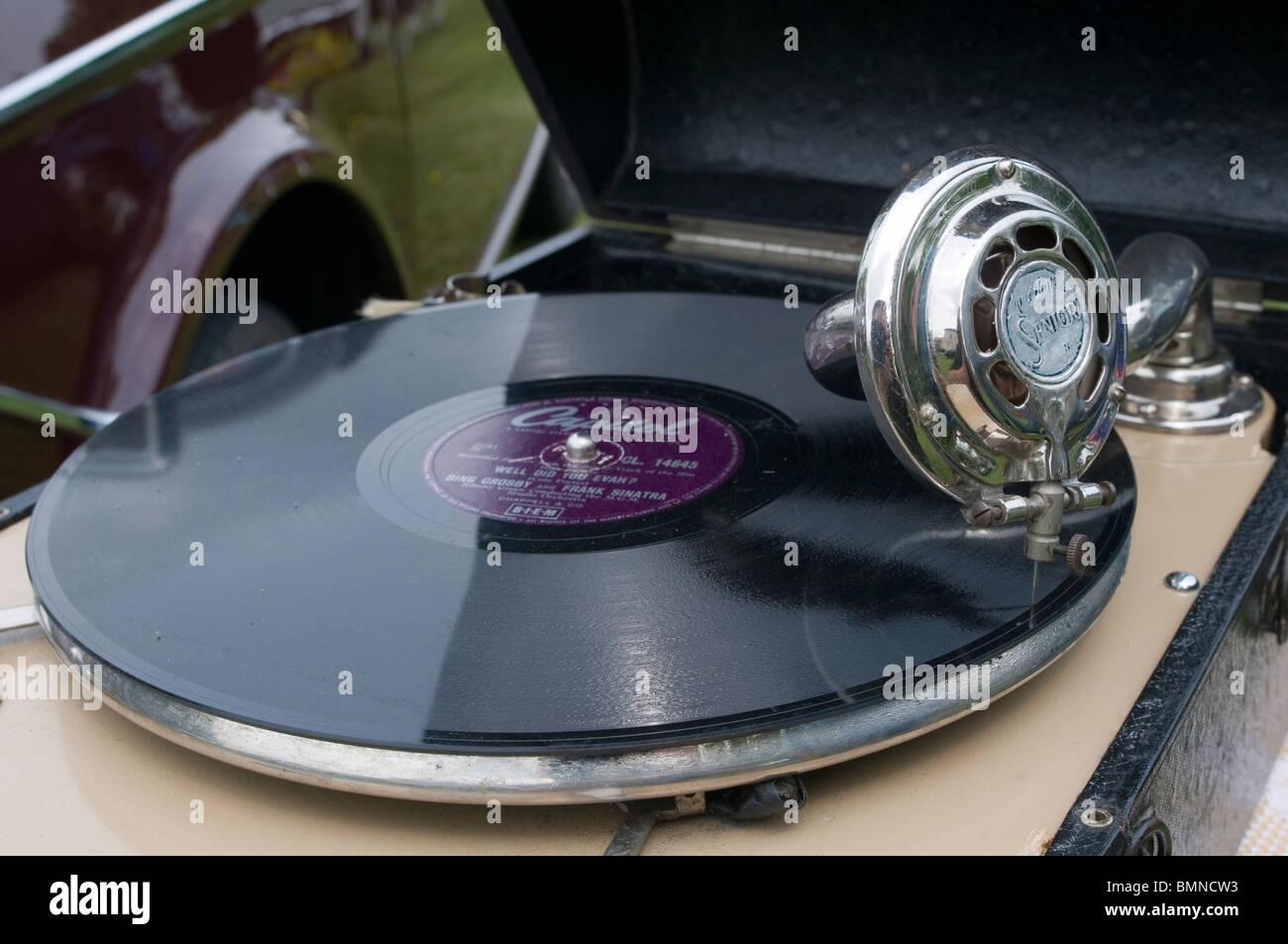 old record player records players long playing fashioned stereo mono needle vinyl deck decks disk jockey jockeys - Stock Image