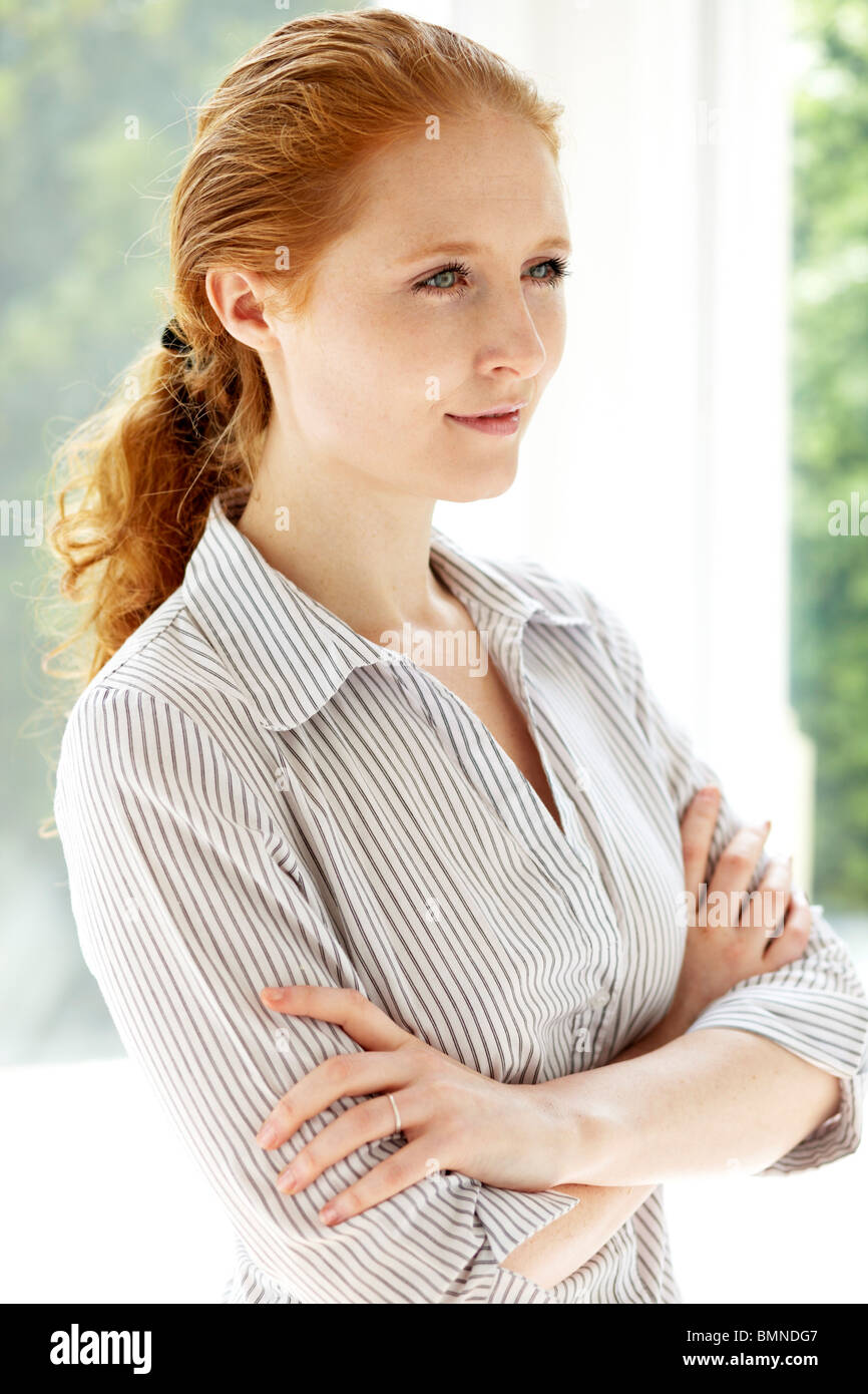 Portrait of red head woman - Stock Image