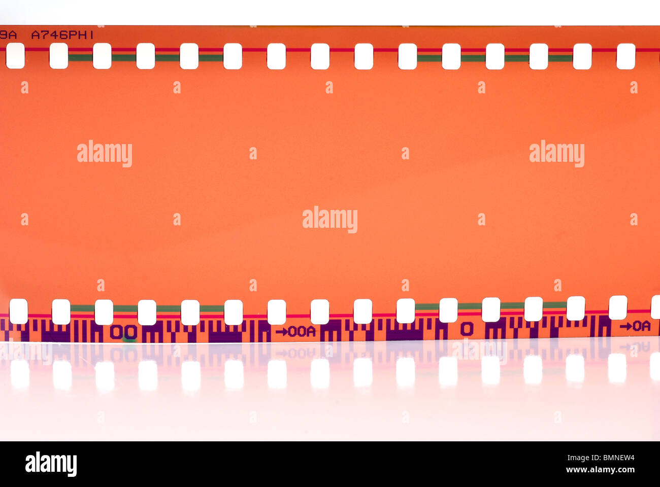Close-up image of 35mm film strip isolated on white background Stock Photo