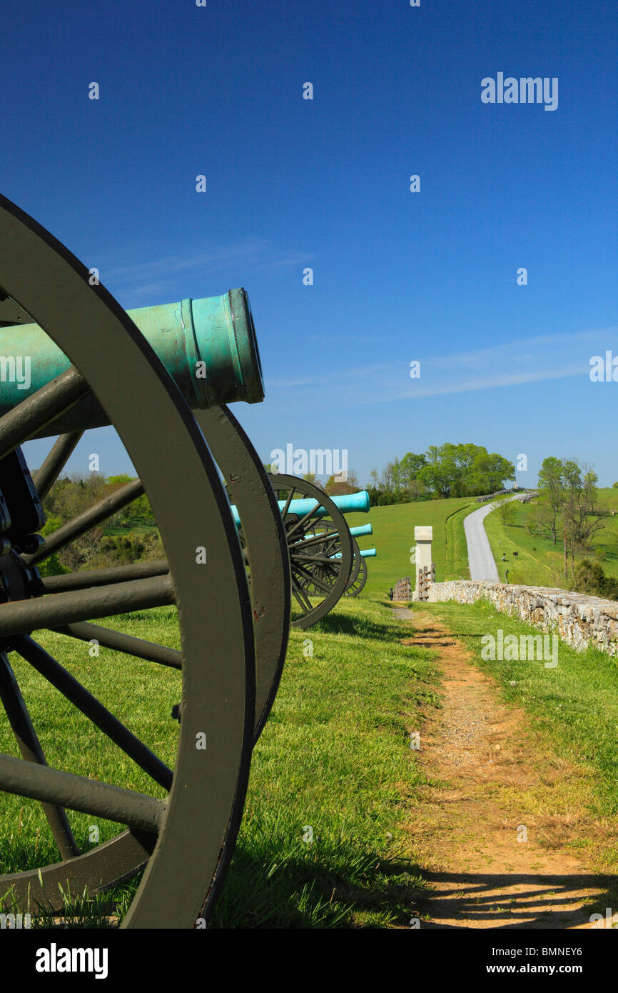 Cannons at the Site of the Final Attack, Antietam National Battlefield, Sharpsburg, Maryland, USA - Stock Image