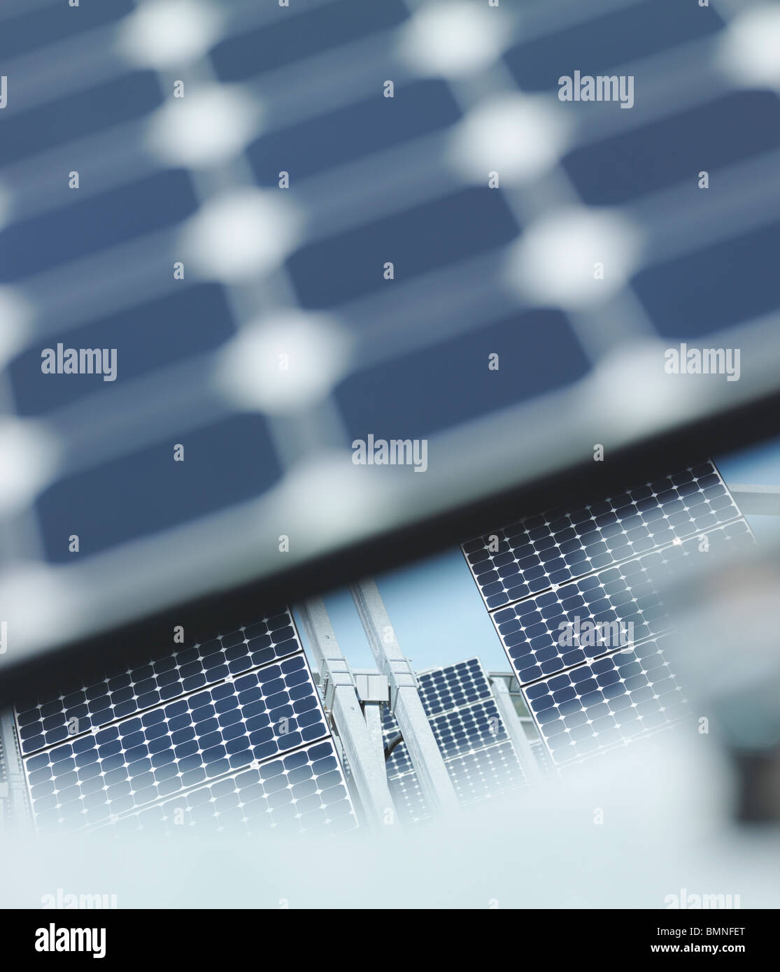 Solar power station out of focus panel - Stock Image