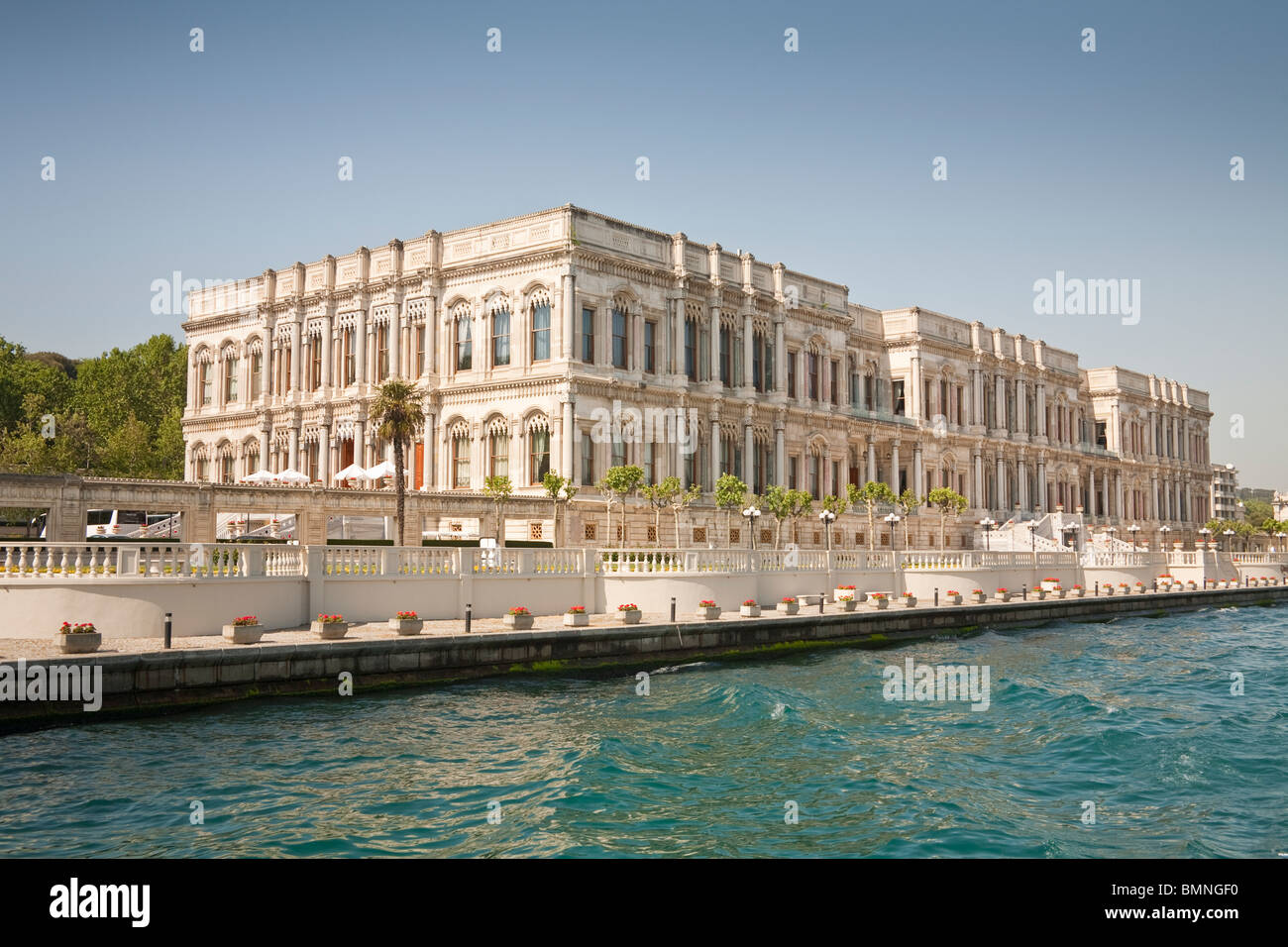 Ciragan Palace, now a Kempinski Hotel, beside the Bosphorus, Istanbul, Turkey Stock Photo