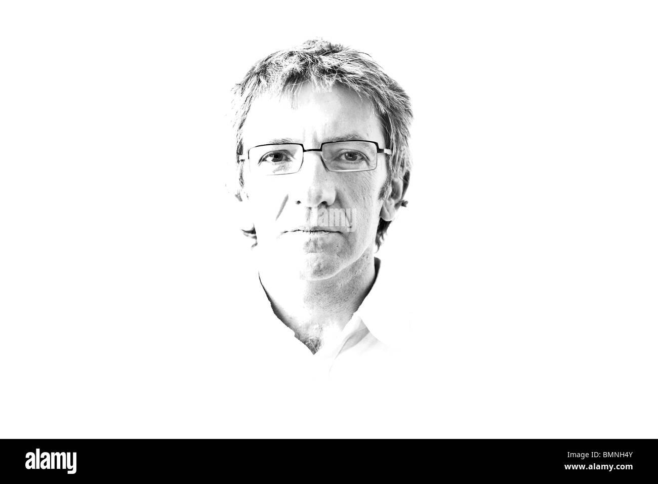 A masculine portrait treated in high key drawing. Portrait masculin noir et blanc traité selon la technique dite Stock Photo