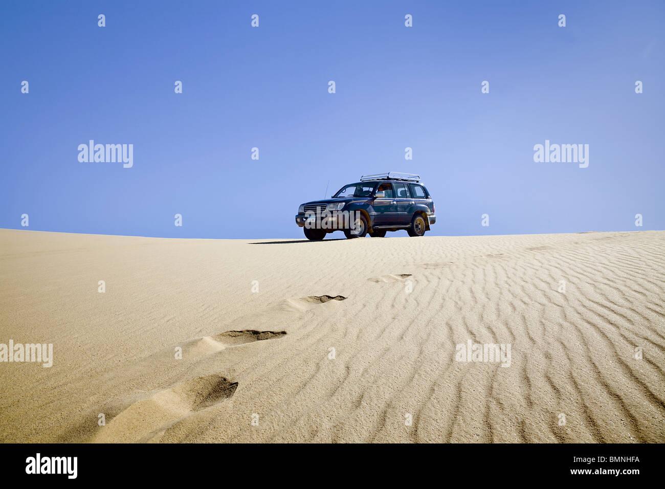Sand desert dune car all-wheel uphill challenge adventure . White desert. Sahara desert. Egypt - Stock Image