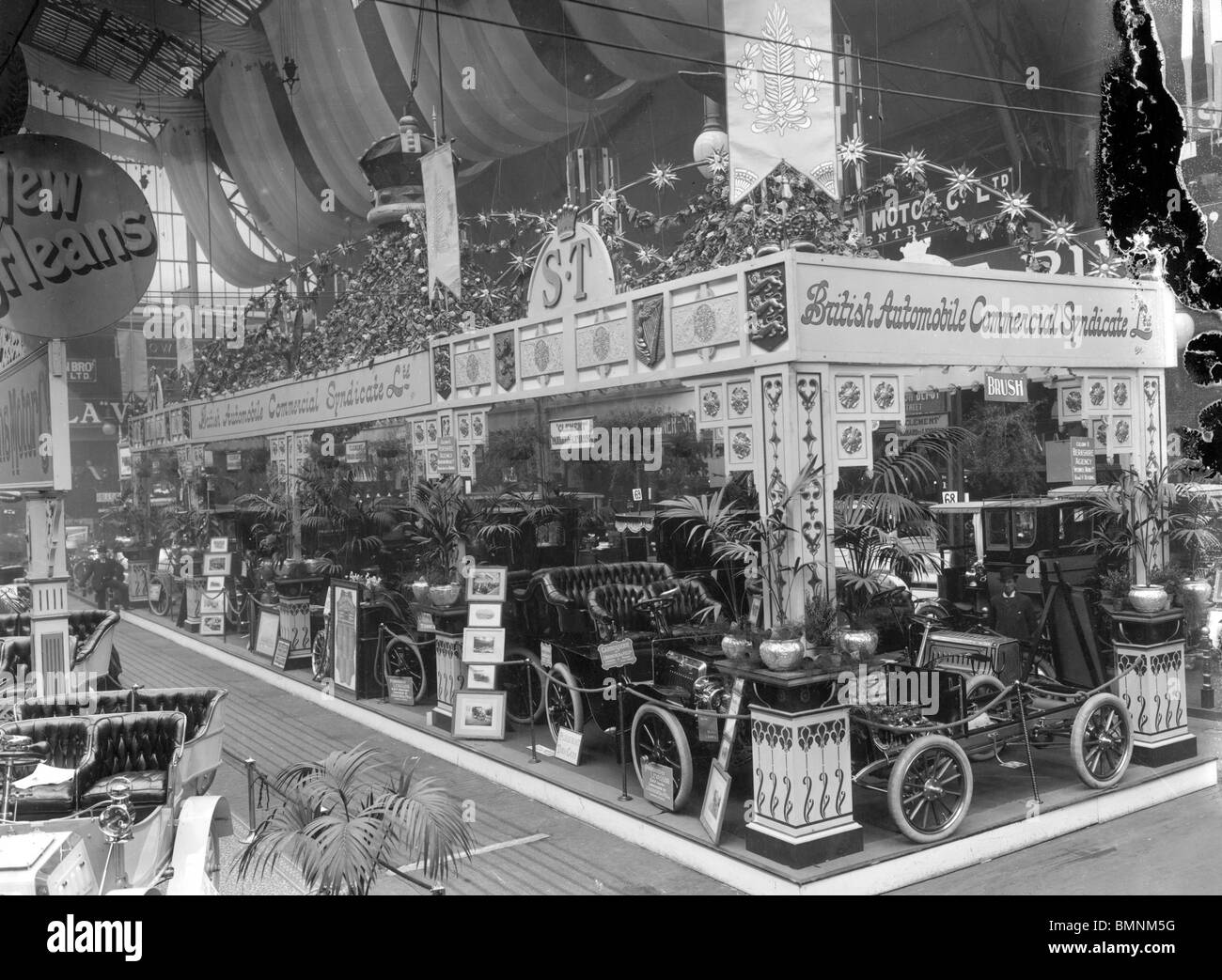 1902 Motorshow. The British Automobile Commercial Syndicate stand. - Stock Image