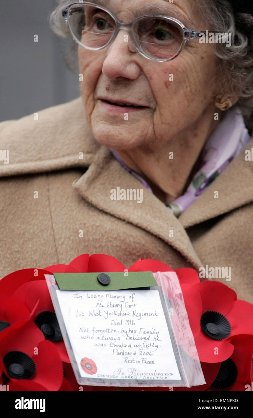 addition of names to the wealdstone war memorial following the posthumous pardon of  pte farr - Stock Image