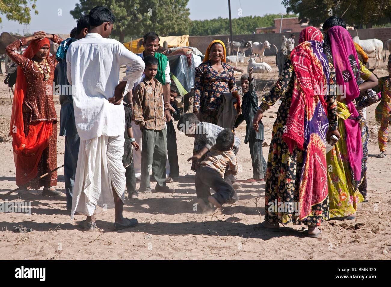 Gipsy boys fighting. Nagaur. Rajasthan. India - Stock Image