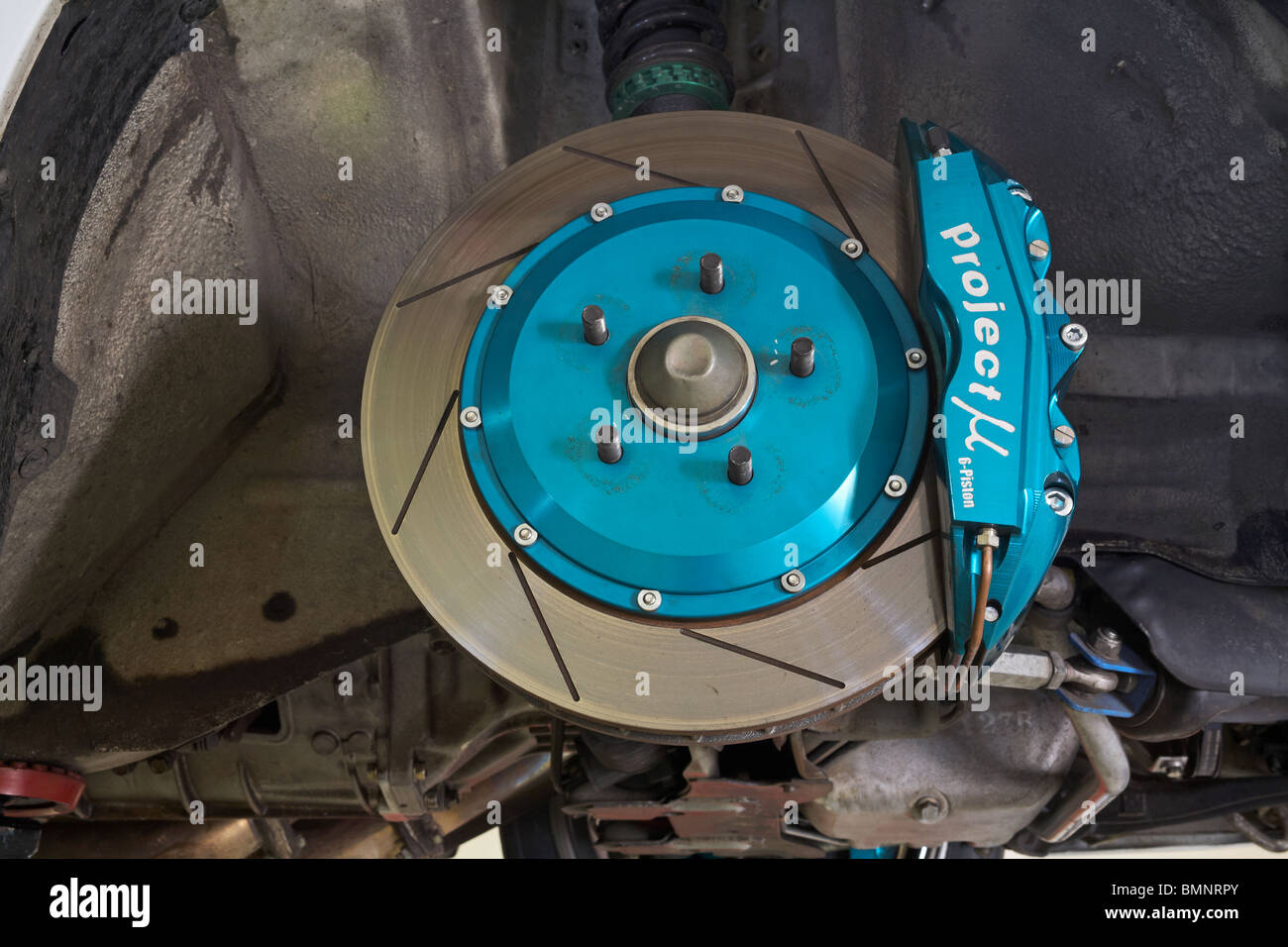 Brake disc (rotor) and calliper on a modified car - Stock Image