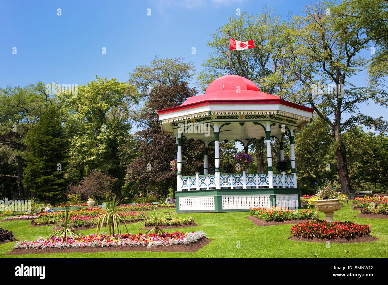The bandstand or gazebo in the Halifax Public Gardens in Halifax, Nova Scotia. Stock Photo
