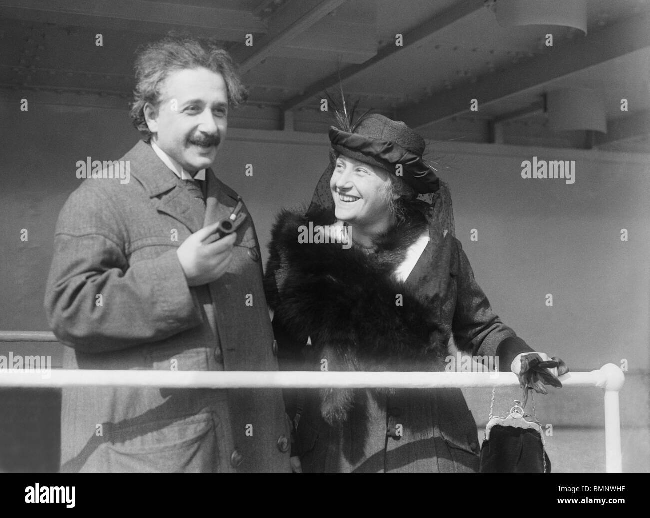 Photo circa 1920s of German theoretical physicist Albert Einstein (1879 - 1955) and his wife Elsa (1876 - 1936). - Stock Image