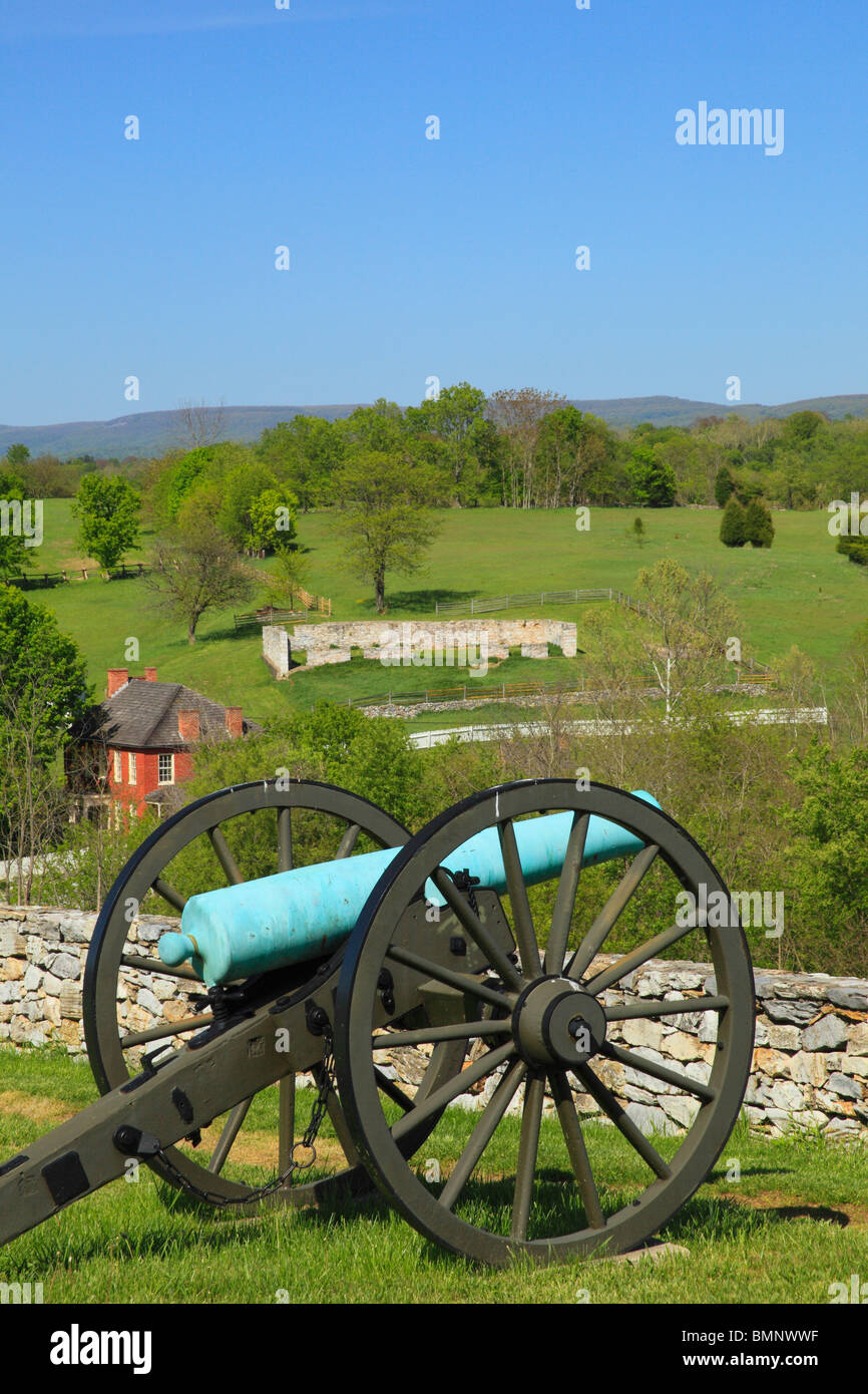 Cannon at Final Attack Site, Sherrick Farm, Antietam National Battlefield, Sharpsburg, Maryland, USA - Stock Image