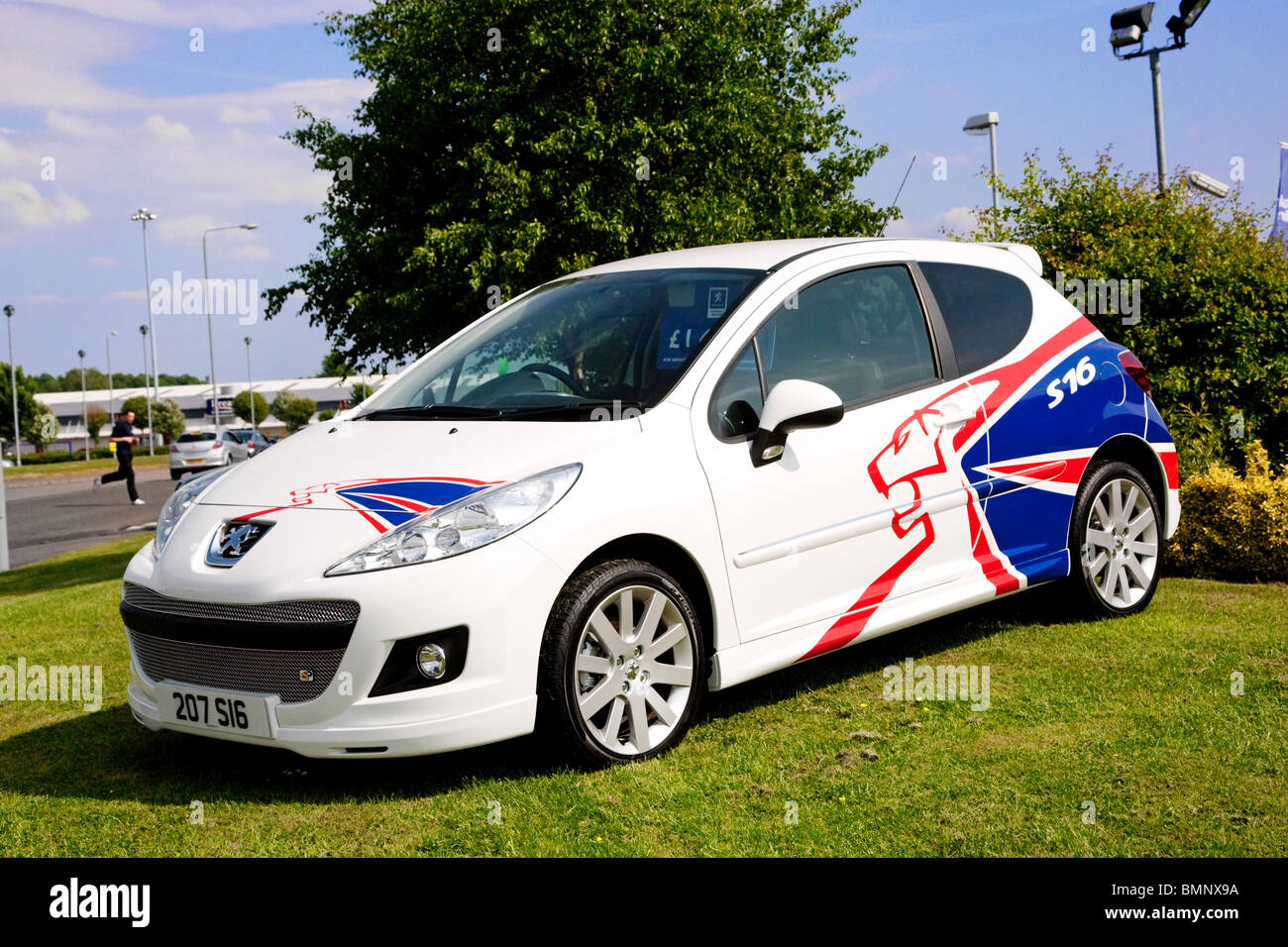Peugeot 207 S16 with special lion livery. - Stock Image