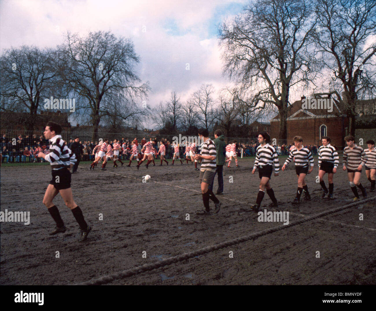 Winchester College football 1980's. A unique variation of football only played at the school which involves - Stock Image