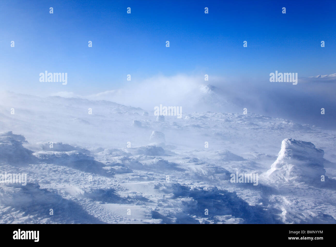 Extreme weather conditions along Crawford Path in the Presidential Range in the White Mountains, New Hampshire USA Stock Photo