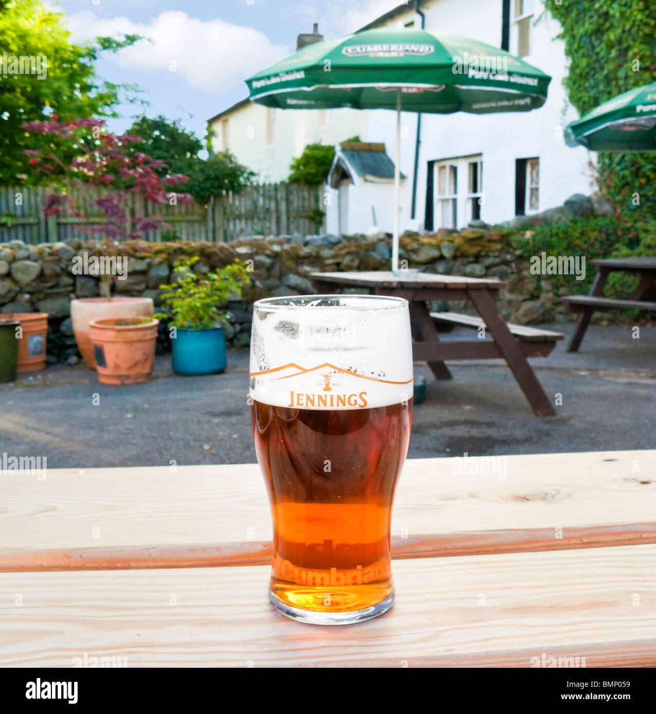 Pint of beer on a beer garden table in a pub in the Lake District, UK - Jennings Cumbrian ale - Stock Image