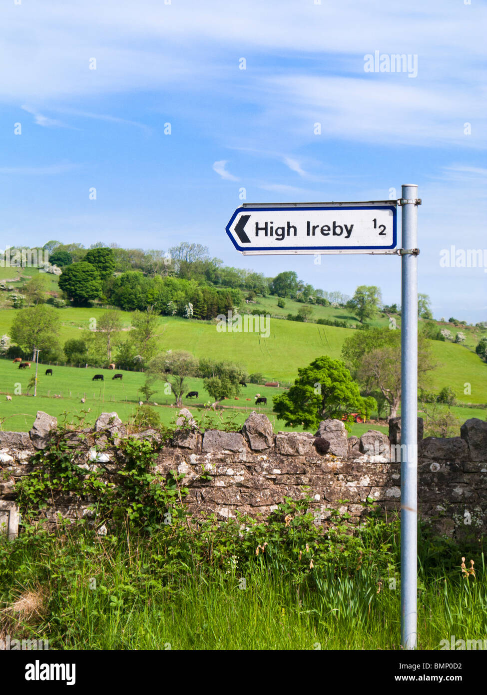 Road sign, to local village of High Ireby, The Lake District countryside, UK - Stock Image