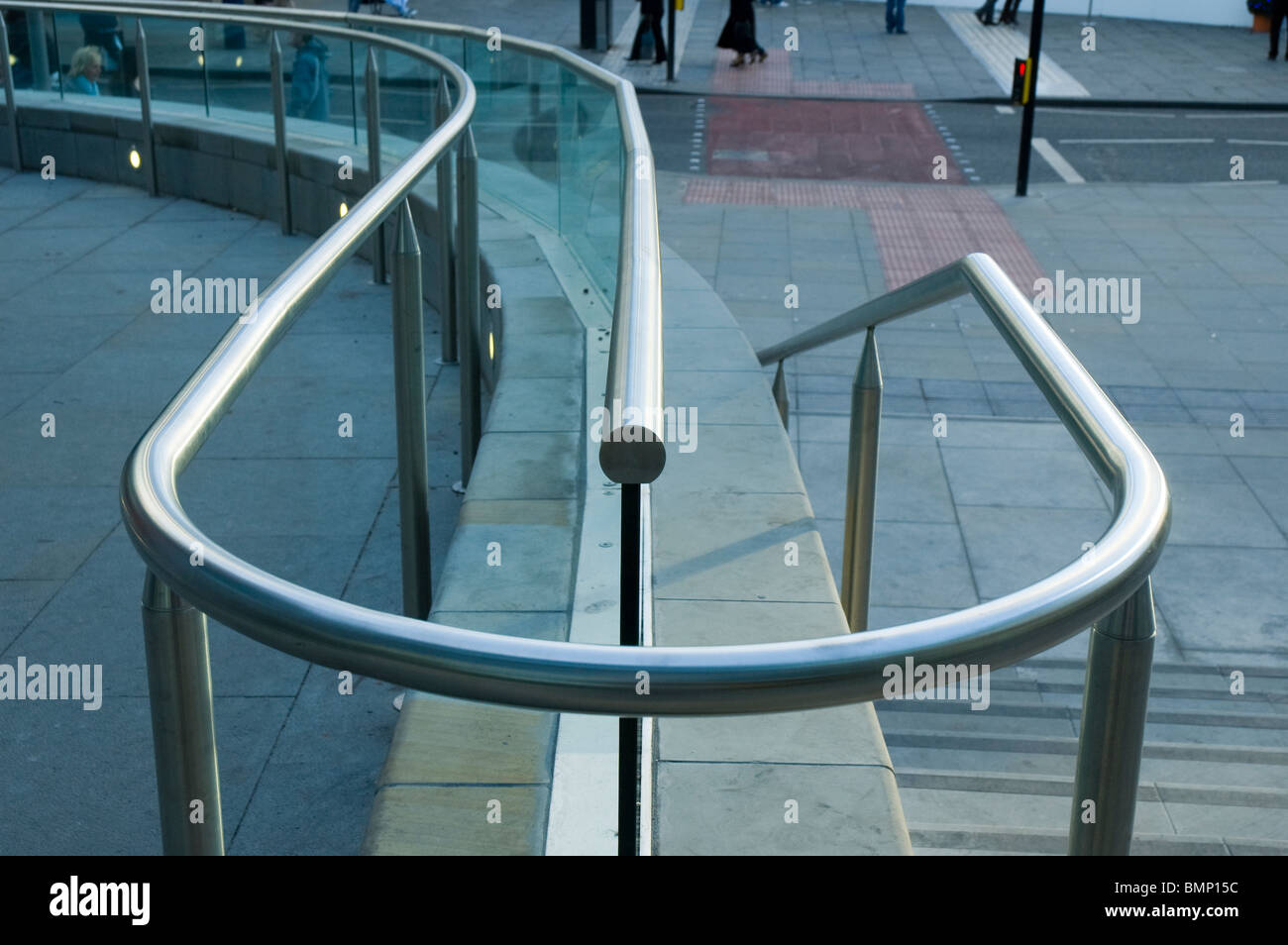 Safety handrails outside the Arndale Centre, Manchester, England, UK - Stock Image