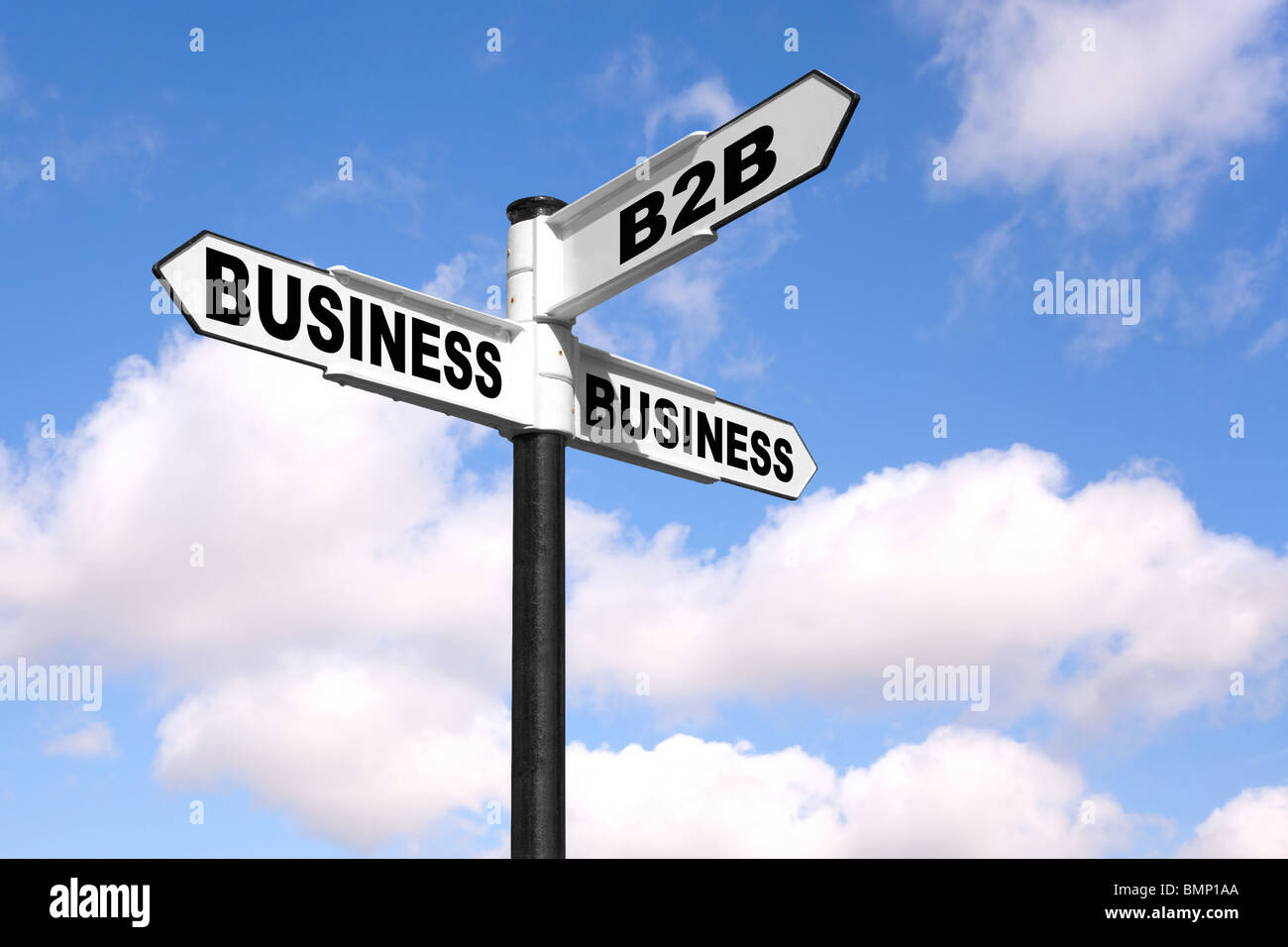 Concept image of a black and white signpost with the words B2B Business 2 Business against a blue cloudy sky. - Stock Image
