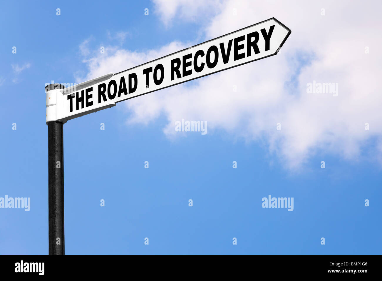 Concept signpost image for the saying The road to recovery. Good image for healthcare or financial related themes. - Stock Image
