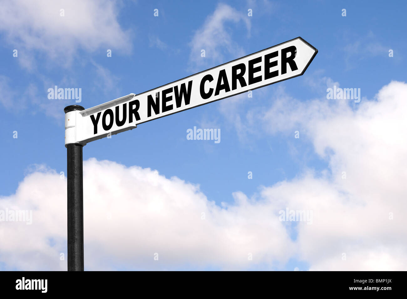 Concept image of a black and white signpost with the words Your New Career against a blue cloudy sky. - Stock Image