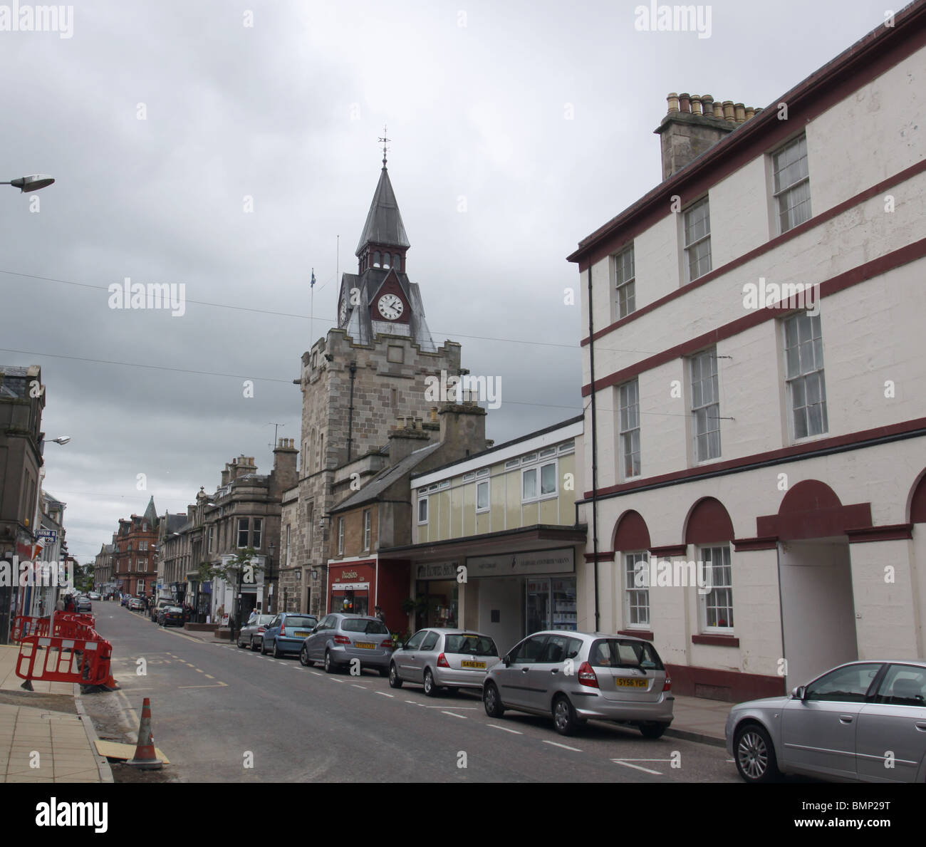 street scene with Courthouse clock tower Nairn Scotland  June 2010 - Stock Image