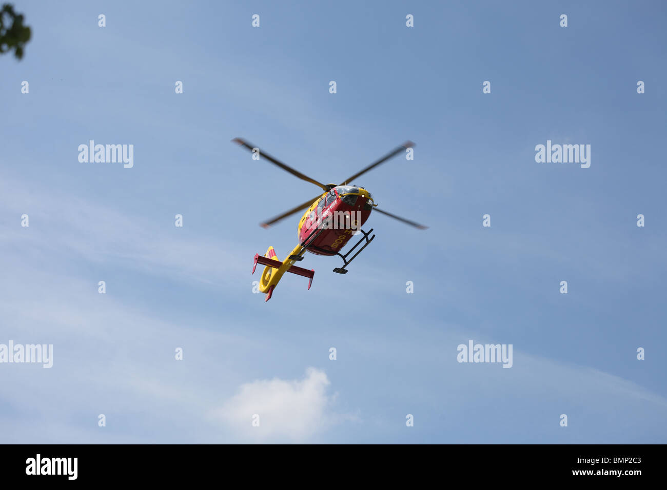 A air ambulance at a traffic accident - Stock Image