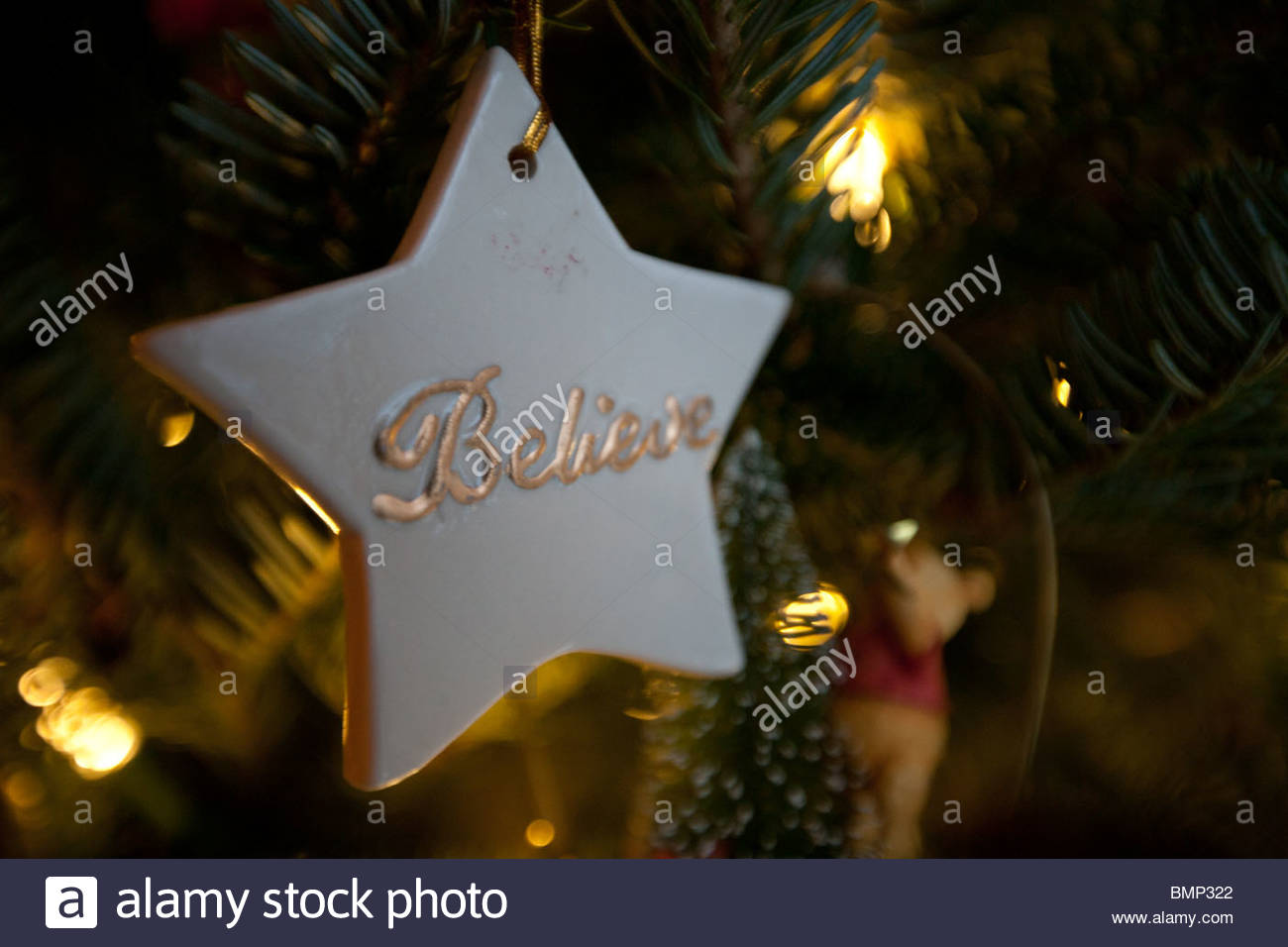 Five Pointed Star A Ceramic Christmas Tree Ornament Hanging On