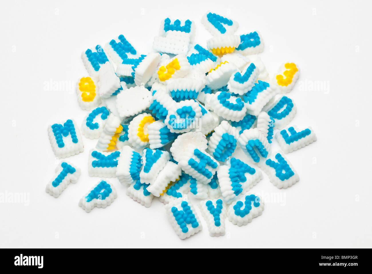 Pile of iced letters - Stock Image