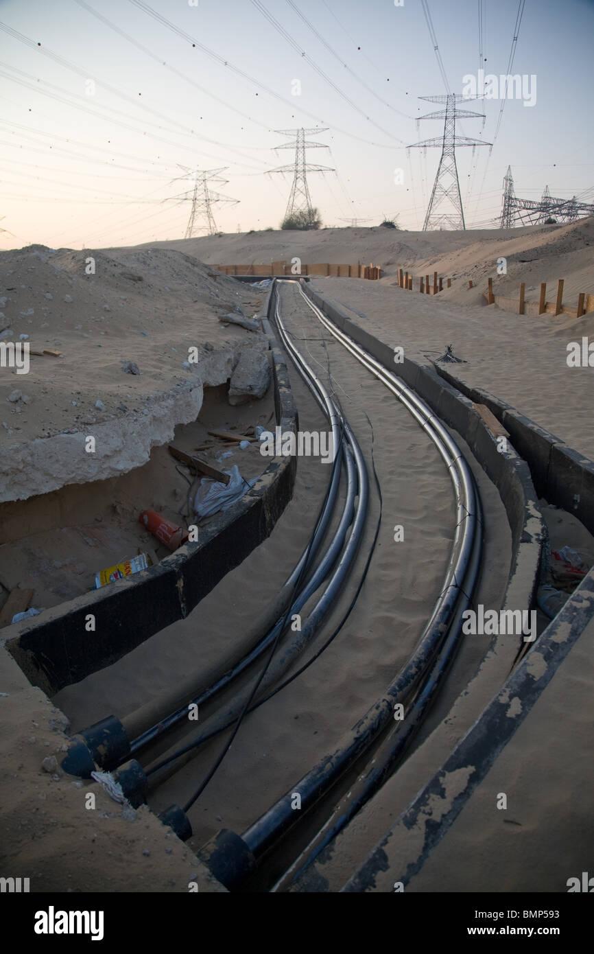 Power Plant  uae dubai power lines cable cabling - Stock Image