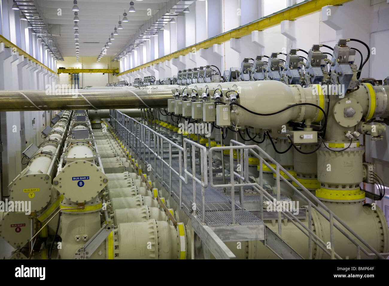 Power Plant generator room generators uae interior Stock Photo