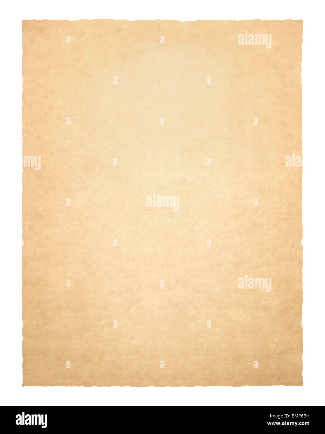Old piece of paper isolated against a white background. - Stock Image