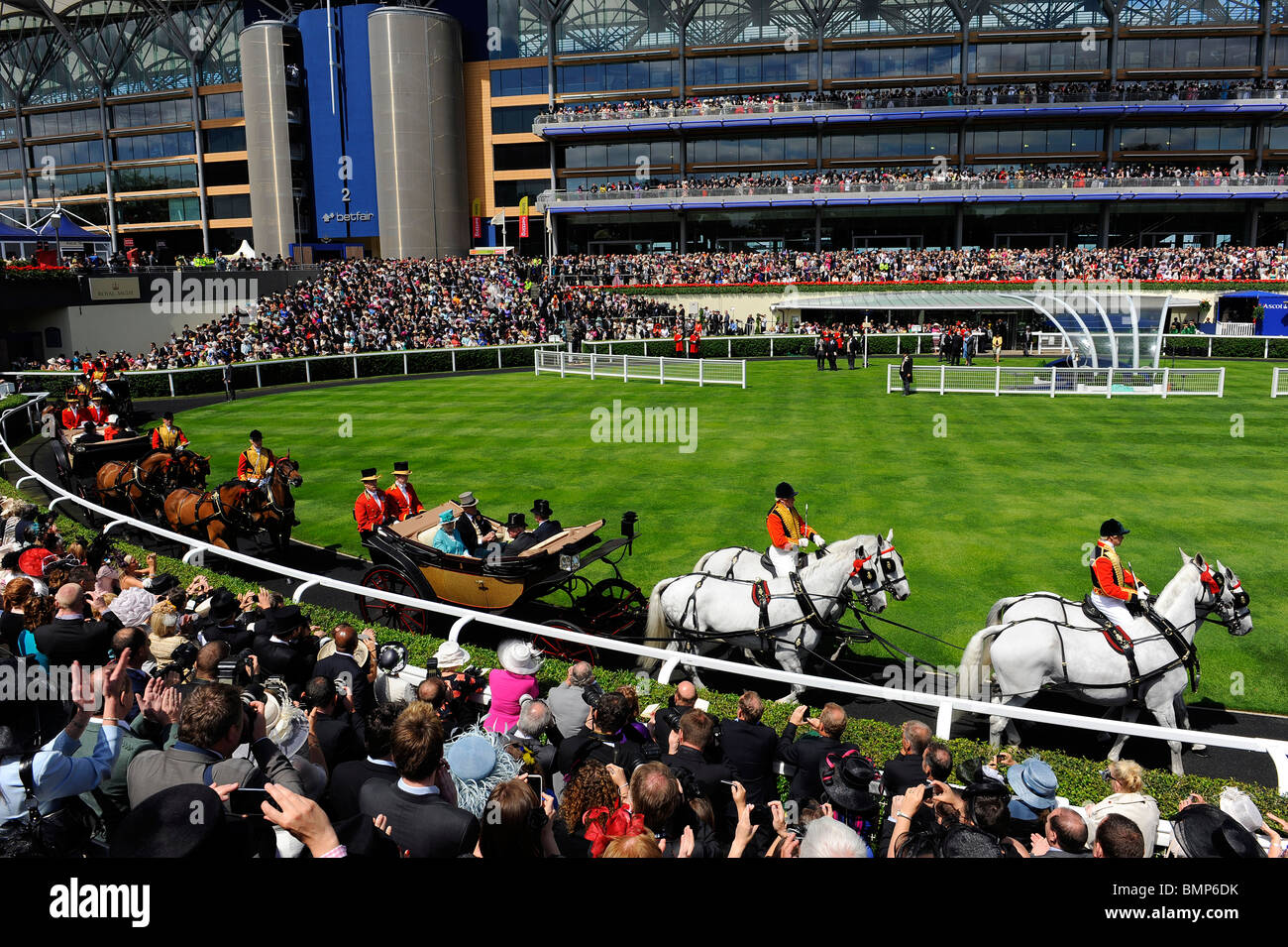 View of the royal procession in the parade ring during day one of Royal Ascot 2010 - Stock Image