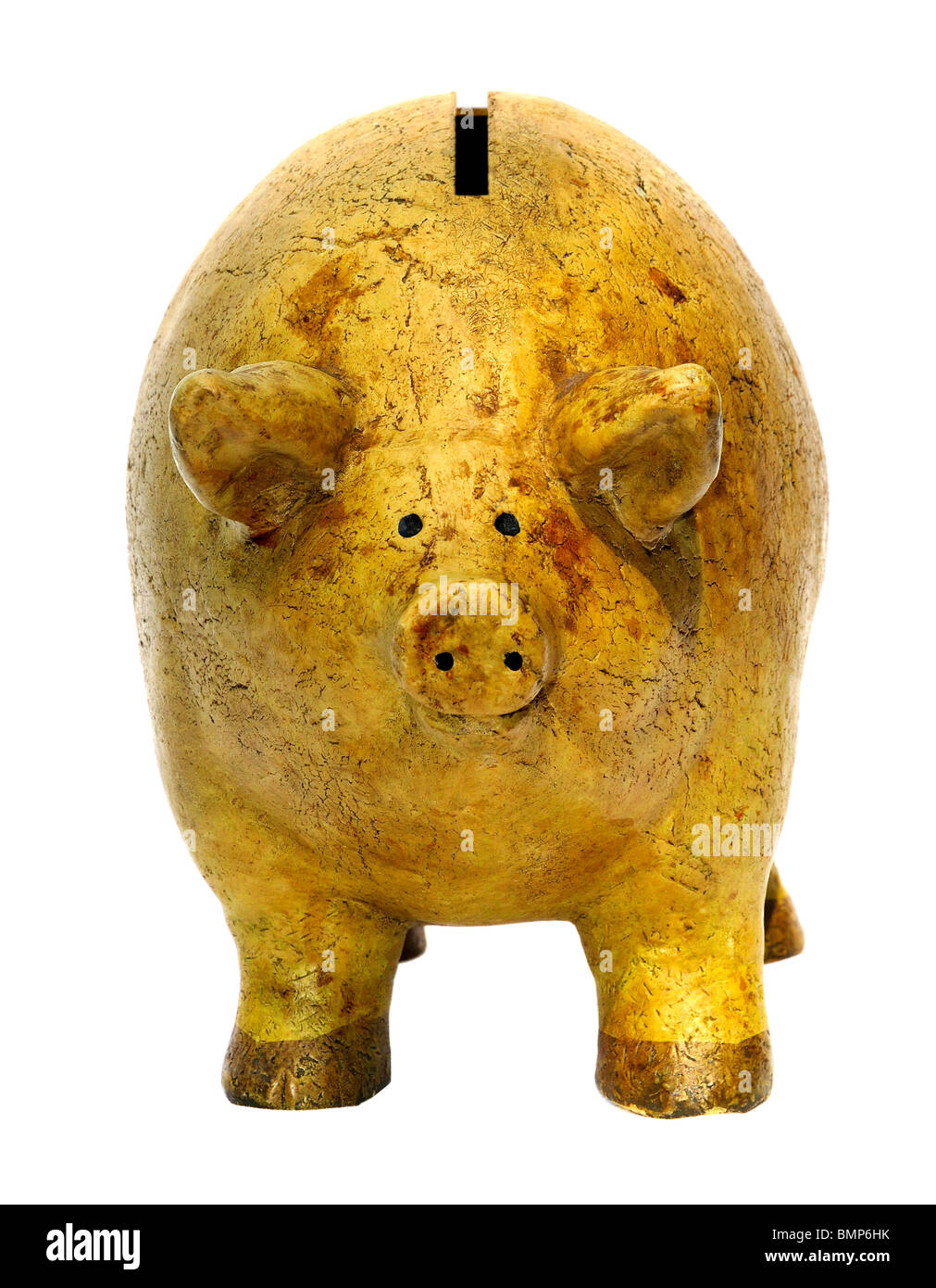 Worn out old piggy bank with pig showing look of frustration. 'Tired of saving pennies'? - Stock Image