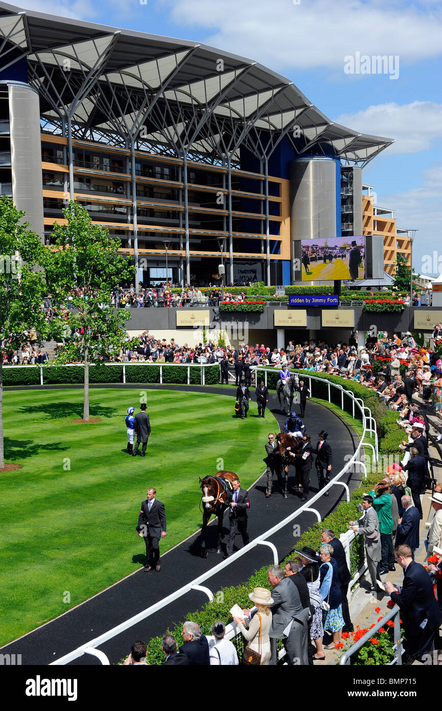 View of the parade ring during day one of Royal Ascot 2010 - Stock Image
