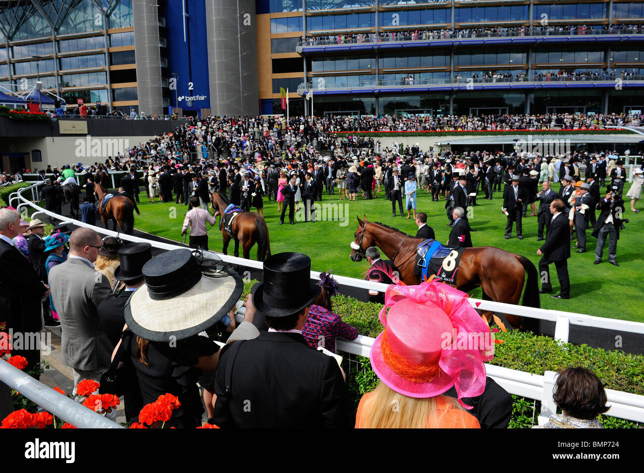 View of race goers wearing hats around the parade ring during day one of Royal Ascot 2010 - Stock Image