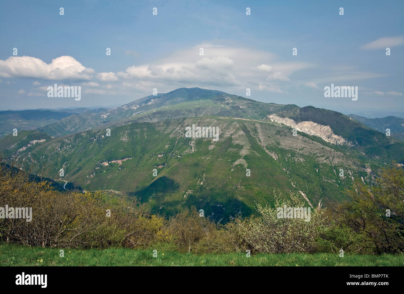 Monte Nerone with its anticlinal fold viewed from Monte Petrano, in the Central Apennines near Calgi, Le Marche, - Stock Image