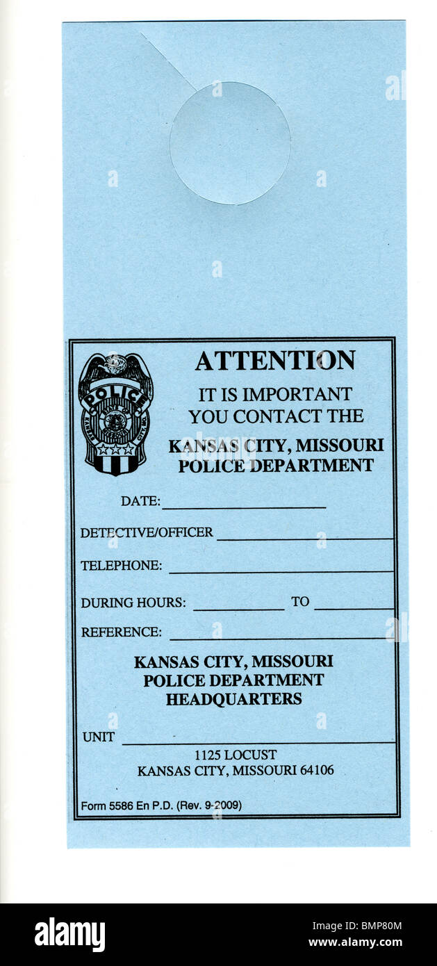 Door hanger used by police when they want to talk to an individual. Typically used when trying to get in touch with - Stock Image