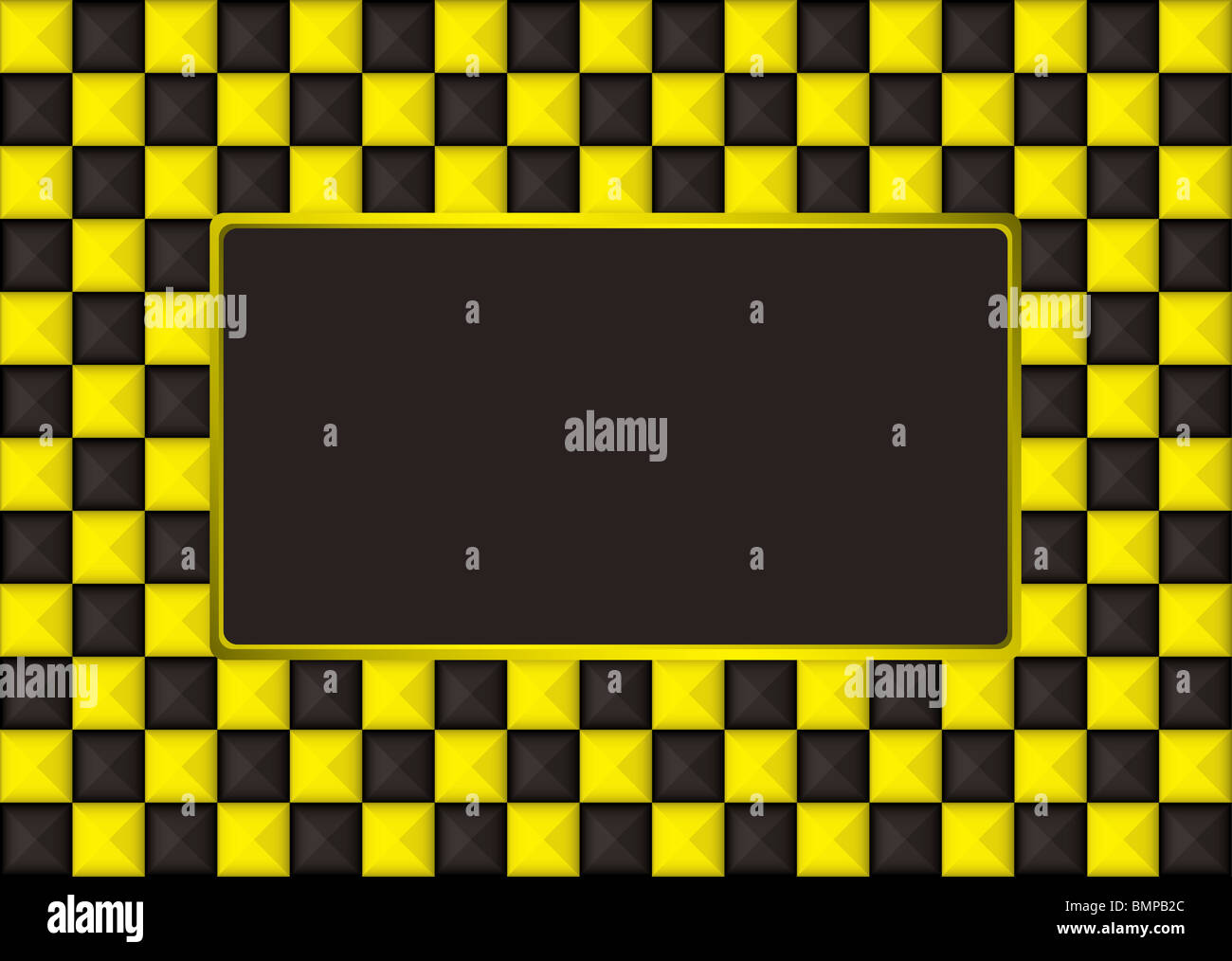 checkered gold and black picture frame with blank center - Stock Image