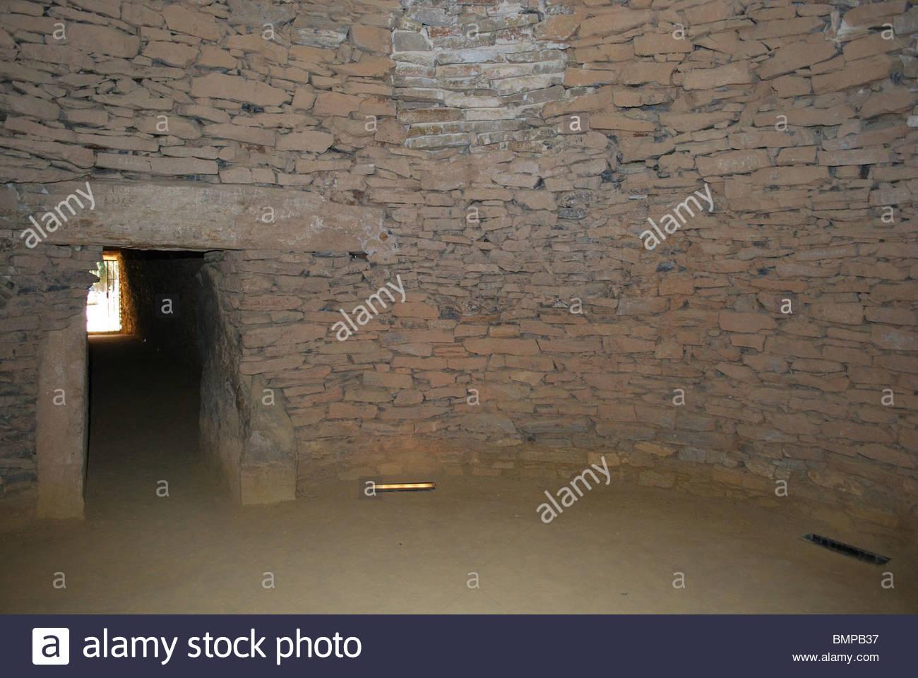 Main room, Dolmen de Romeral, The Dolmens, Antequera, Malaga Province, Andalucia, Spain, Western Europe. - Stock Image