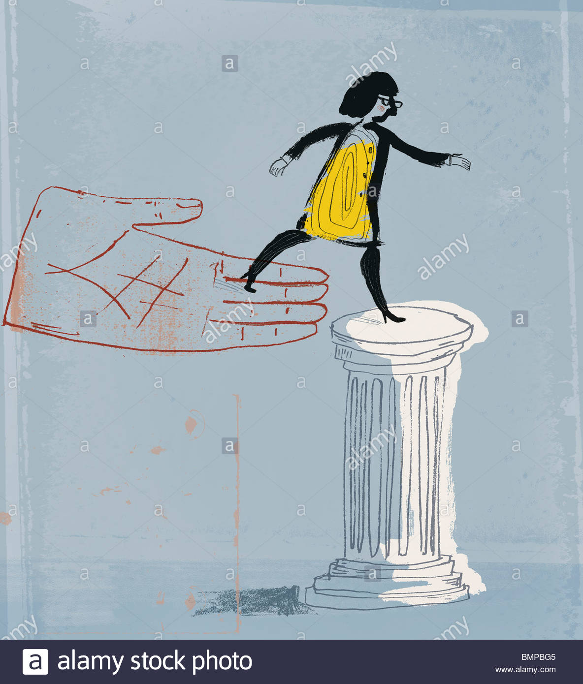 Large hand placing woman on pedestal - Stock Image