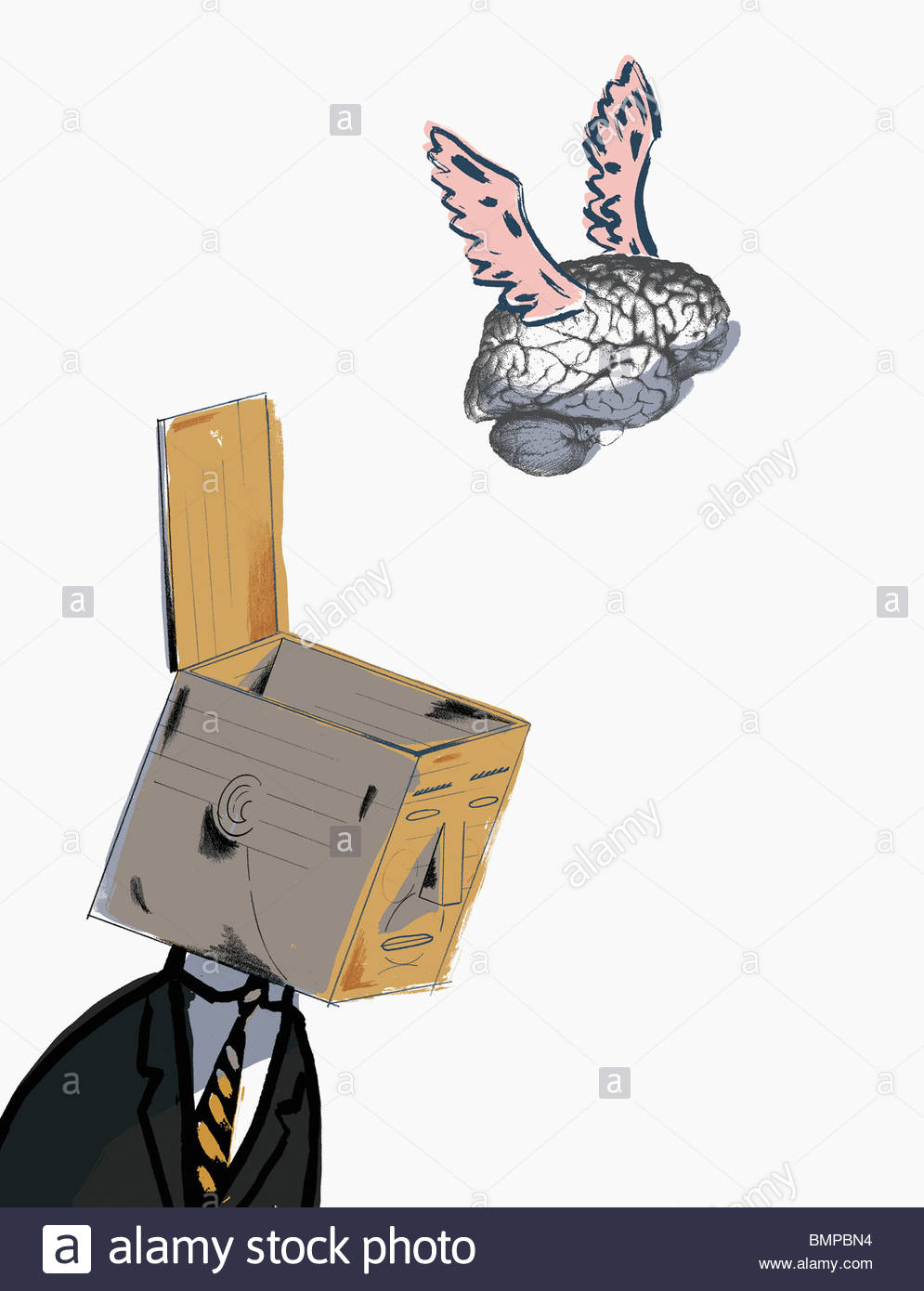 Brain flying from open box on businessman's head - Stock Image