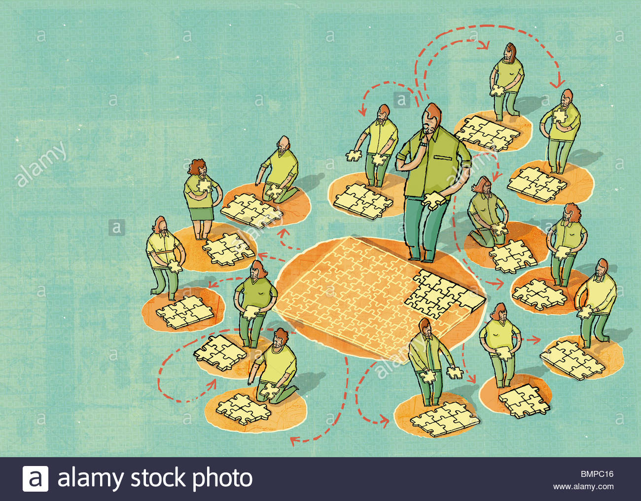 Outsourcing of jigsaw pieces - Stock Image
